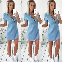 Women Short Sleeve Casual Buttons Tops Blouse Party Summer T Shirt Mini Dress