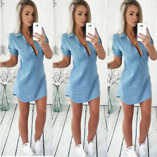 Womens Summer Short Sleeve V-neck Slim Denim Dress Clubwear Party Shirt Dresses
