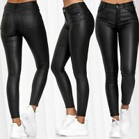 Damen Hose Leder Optik Push Up + Classic Kunstleder Skinny Coated Stretch