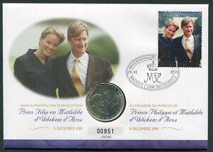 Belgium 250 francs 1999 Royal Marriage Philippe Mathilde KM#218 Silver BU Cover