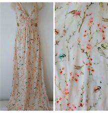 Zara Oriental, bird,floral  silky ,maxi ,prom,wedding ,cruise- Small ( 6/8)
