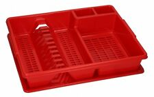 RED Large Dish Drainer Rack Tray Utensil Cutlery Kitchen Plate Holder Plastic