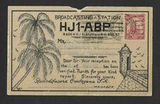 Cartagena Columbia S A Sept 1937 Radio Card HJ1-ABP to Canada