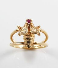 Vintage Ladies 14k Gold Ruby Fly Insect Ring Size 6.75