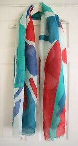 Seasalt Blue Green Red Geometric Linen Cotton Tranquil Rectangle Scarf