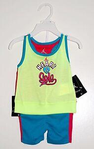 NWT Air Jordan Infant Girls Yellow Teal Heart & Sole 2pc Tank Top Shorts Set 12M