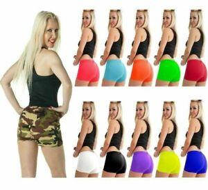 Ladies Stretch Elasticated Plain Hot Pants Shorts Womens Girls Dance Gym Shorts