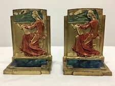 Meditation Pompeian Bronze Bookends Polychrome Marked Pair Figural Scenic
