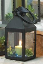 12 Matte Black Revere Candle Lanterns w/ Clear Glass Wedding Centerpieces Small