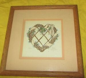 Heart wreath detailed pen & ink drawing 1986 signed by Linda Grayson wood frame