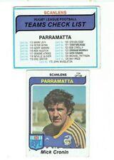 PARRAMATTA EELS - SCANLENS 1980 Rugby League Trading Cards - CHECKLIST & CRONIN