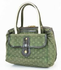 Auth LOUIS VUITTON Sac Mary Kate Green Monogram Mini Lin Hand Bag Purse #38301