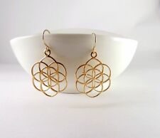 Gold seed of life earrings , Gold flower of life earrings , Kabbalah jewelry