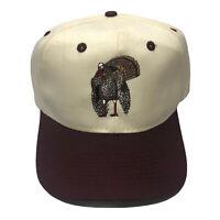 Vintage 90s Cobra Caps Turkey Bird Burgundy Red White Embroidered Snapback Hat