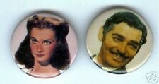 2 GONE with the WIND pins CLARK GABLE  VIVIEN LEIGH pinback button