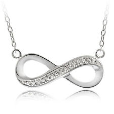 .925 Sterling silver infinity with CZ Pendant Necklace