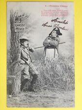 cpa 1900 Phot. BERGERET & Cie NANCY Garde Champêtre PREMIERE CHASSE Fusil Lapin
