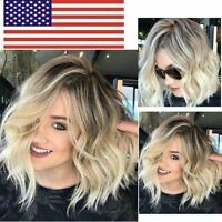 Womens Ladies Blonde Short Curly Bob Style Wigs Natural Curly Hair Cosplay Wig