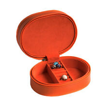 "Bey Berk Orange ""Lizard"" Leather Two Level Jewelry Case Zipper Closures"