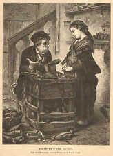 Cobbler, Shoemaker, Shoe Repair, Child, Worn Out, 1875 German Antique Art Print