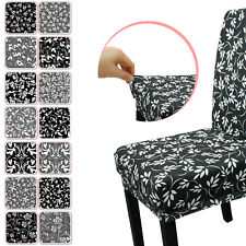 Stretch Dining Short Chair Cover Floral Printed Spandex Slipcovers Banquet Event