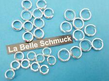 30 Biege-Ringe Set 925 Silber-Ösen Sortiment 6,7, 8mm halbrund Draht 1,75mm NEU