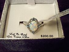 Sterling Silver Opal and Blue Topaz w/Diamond Accents Ring Size 7 New w/Tags