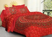 Indian Multi-color King Size Floral Cotton Bed Sheet Bedspread with 2 Pillowcase