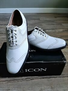 NEW Custom Footjoy FJ ICON Mens Golf Shoes Wh Patent leather/Wh Lizard 10.5N
