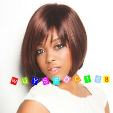 Hot Fashion Charm ladies short mix red Brown Natural Hair Full wigs+free wig cap