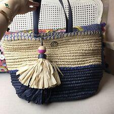 NEW Tory Burch Straw Tote Beach Baby Bag Shopper Colorblock Bondi Blue $250