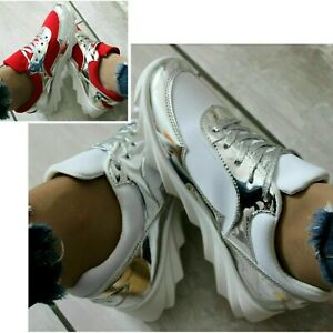 WOMENS WHITE / SILVER , RED TRAINERS LACE UP SNEAKERS SPORT SHOES SIZES UK 3 5 6
