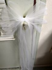8 Ivory Tulle Pew Bows With Clips Ready To Hang Extra Streamers Rush AVAILABLE