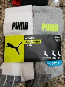 PUMA LOGO WHITE/GRAY BLACK LIME ACCENTS TRAINING CREW SOCKS 6 PAIRS 6-12 $20 NIP