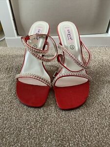 Womens Strappy Red Diamonte Mules Size 5