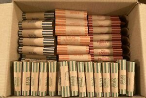 200 Rolls Preformed Coin Wrappers assorted (50 each) Quarter Penny Nickel Dime