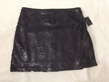 NEW W TAG ZARA BASIC WOMENS SZ XS BLACK SEQUIN LINED SKIRT A79