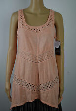 DKNY Jeans Womens Pink Scoop Neck Eyelet Blouse Tank Top M
