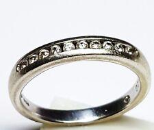 9ct White Gold .20 tcw Diamond half eternity Ring size P fully  hallmarked