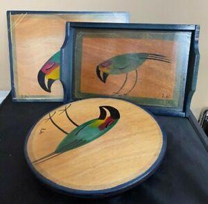 Vintage Kakada Hand Painted Wood Round Tray, Tray, Flat Decorative Tray Lot 3