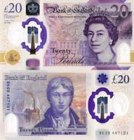 ENGLAND, 20 POUNDS, 2020 P-NEW, NEW DESIGN, POLYMER, Q. Elizabeth II, UNC