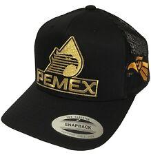 PEMEX MEXICO AGUILA A UN LADO HAT 2 LOGOS BLACK MESH SNAPBACK NEW HAT