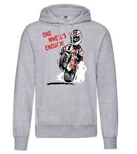 One Wheel's Enough motorcycle biker racing grey hoodie pullover kangaroo pouch