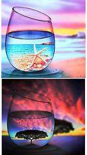 2 Sets 5D Diamond Paintings Wine Glass Landscape Scenery Cross Stitch Embroidery