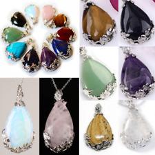 Natural Quartz Crystal Stone Teardrop Flower Healing Gemstone Pendant Necklace##