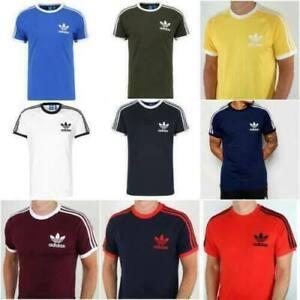 Adidas Originals Mens Tshirt 3 Stripes California Short  Sleeve Crew Neck M L