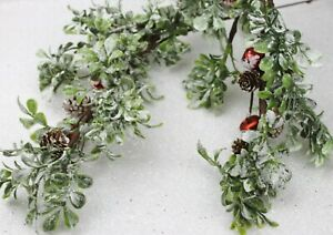 GISELA GRAHAM CHRISTMAS FLOWER FROSTED LEAF CONE BRANCH WITH RED BELLS SPRAY