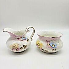 Antique Hand Painted Porcelain Floral Sugar Bowl and Creamer Set