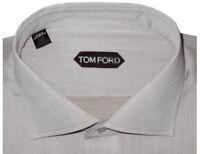 $640 NEW TOM FORD SOFT BROWN TAUPE HAND MADE DRESS SHIRT EU 45 17.75