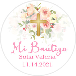 "PINK CORAL WHITE GOLD FLORAL ""MI BAUTIZO"" PARTY ROUND STICKERS FAVORS LABELS"